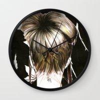 emma stone Wall Clocks featuring Emma  by Yaz Raja Designs