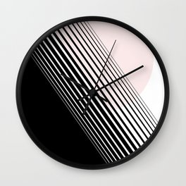 Rising Sun Minimal Japanese Abstract White Black Blush Pink Wall Clock