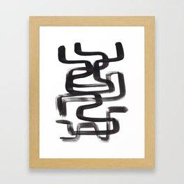 Black And White Minimalist Mid Century Abstract Ink Art Ink Maze Brush Strokes Minimal Framed Art Print