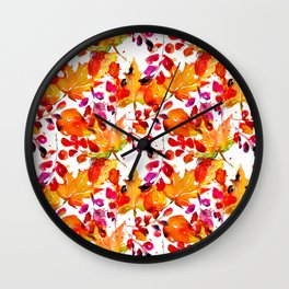 Watercolor autumn leaves Wall Clock