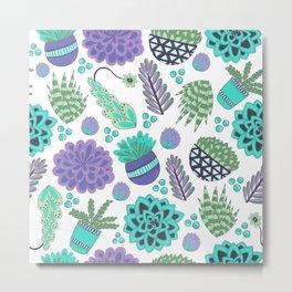 Succulents Pattern Metal Print
