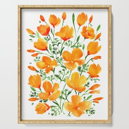 Watercolor California poppies Serving Tray