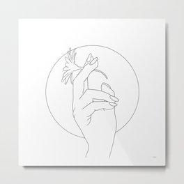 Flower between the fingers Metal Print