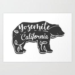 Boho Yosemite California Bear Art Print
