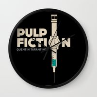 pulp fiction Wall Clocks featuring Pulp Fiction  by Jacob Wise