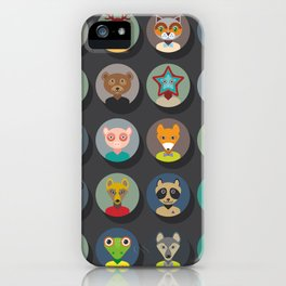 animals faces circle icons set in Trendy Flat Style. zoo iPhone Case