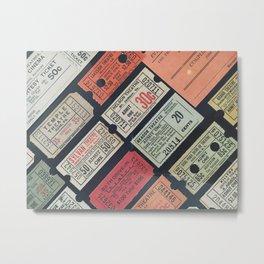 Vintage Movie Tickets Metal Print