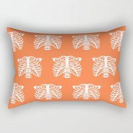 Human Rib Cage Pattern Orange Rectangular Pillow