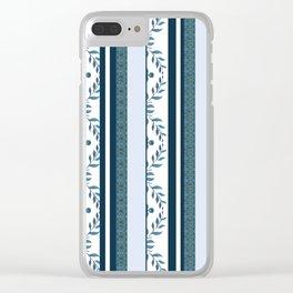 zakiaz navy & white french stripe Clear iPhone Case