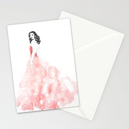 Fashion illustration pink long gown Stationery Cards