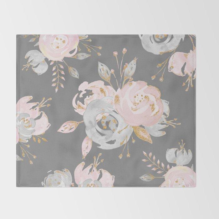 Night Rose Garden Gray Throw Blanket