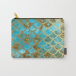 Aqua Teal & Gold Glitter MermaidScales - Mermaid Scales And Sea Foam Carry-All Pouch