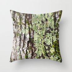 Tree Bark Lichen Throw Pillow
