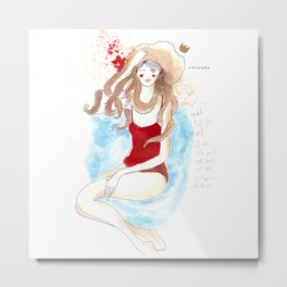Girl and Octopus (obsession) Metal Print