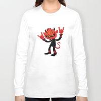 heavy metal Long Sleeve T-shirts featuring Heavy Metal Devil by John Schwegel