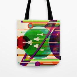 NASA Outer Space Saturn Shuttle Retro Poster Futuristic Explorer Tote Bag