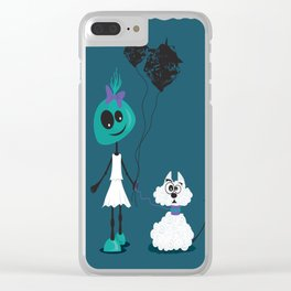 Extraterrestrial girl and her pet Clear iPhone Case
