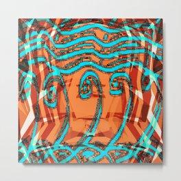 Abstract Waves - Peach and Aqua Metal Print