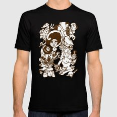 American Traditional Tattoo Collage (Brown) Mens Fitted Tee MEDIUM Black