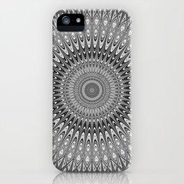Grey mandala iPhone Case