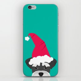 Schnauzer Santa Hat iPhone Skin