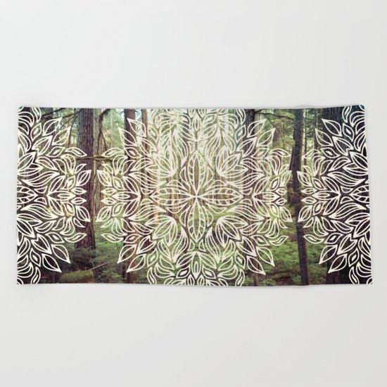 Mandala Vintage Forest Path Beach Towel