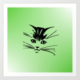 Green Cat Face Art Print