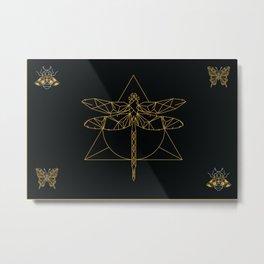Black and Gold Geometry Metal Print