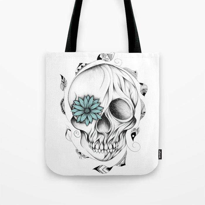 Poetic Wooden Skull Tote Bag