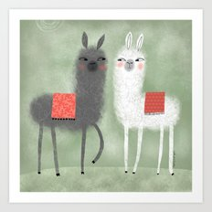 LAMMAS WITH RED BLANKETS Art Print