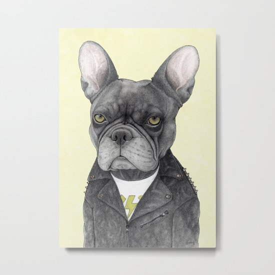 Hard Rock French Bulldog Metal Print