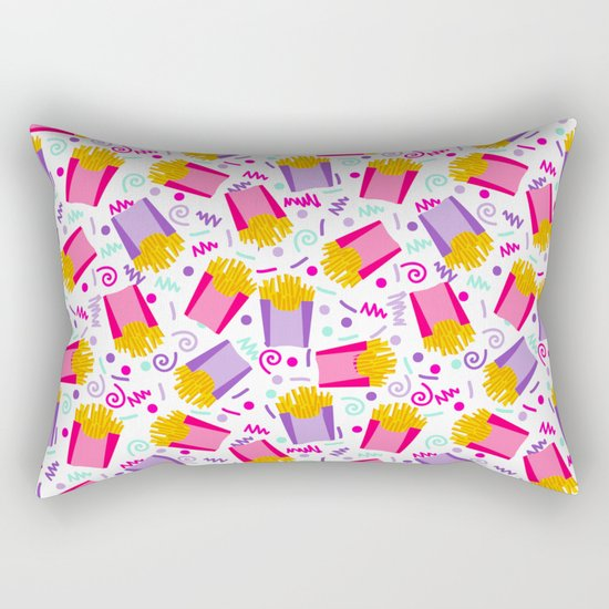 French Fries junk food party time razzle neon bright happy fun kids children pop art pattern foods Rectangular Pillow