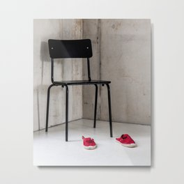 Black Chair Red Shoes Metal Print