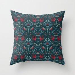 Winter flora and fauna / dark pattern Throw Pillow