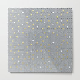 Pin Points Grey, Gold and White Metal Print