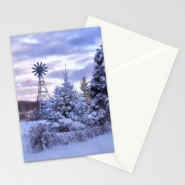 Windmill in the Snow Stationery Cards