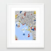 oslo Framed Art Prints featuring Oslo mondrian by Mondrian Maps