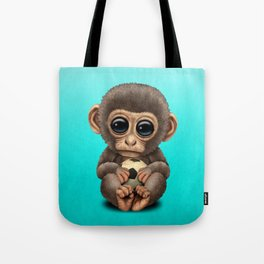 Cute Baby Monkey With Football Soccer Ball Tote Bag