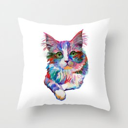 Cat with green eyes Throw Pillow