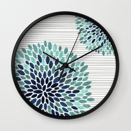 Blooms and Stripes, Aqua and Navy Wall Clock