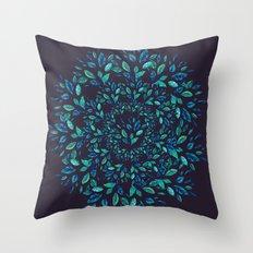 Blue Leaves Mandala Throw Pillow