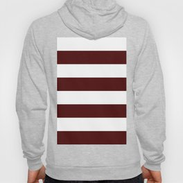 Wide Horizontal Stripes - White and Bulgarian Rose Red Hoody