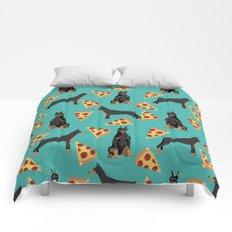Doberman Pinscher pizza food slice foodie dog lover doberman dog owner custom dog breed Comforters