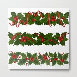 Christmas holly decoration Metal Print