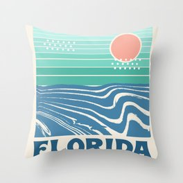 Florida - retro travel poster 70s throwback minimal ocean surfing vacation beach Throw Pillow
