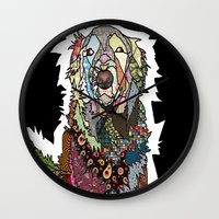 golden retriever Wall Clocks featuring Golden Retriever by Carsick T-Rex