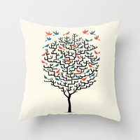 tree Throw Pillows featuring Out On a Lark by Oliver Lake