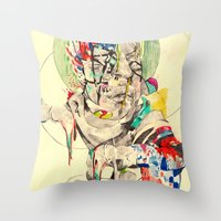 punk Throw Pillows featuring Punk by withapencilinhand