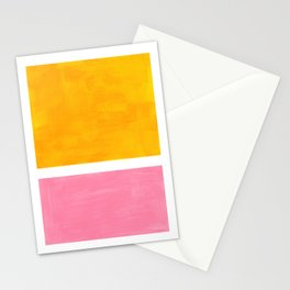 Pastel Yellow Pink Rothko Minimalist Mid Century Abstract Color Field Squares Stationery Cards