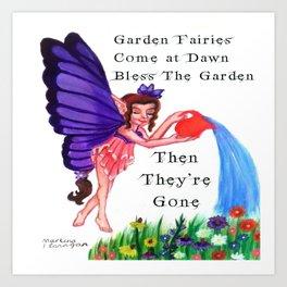 Fairy Watering Garden Art Print